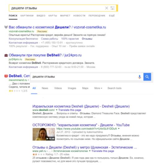 Рис.6. Негатив побрендовому запросу вТОП10 Яндекса иGoogle