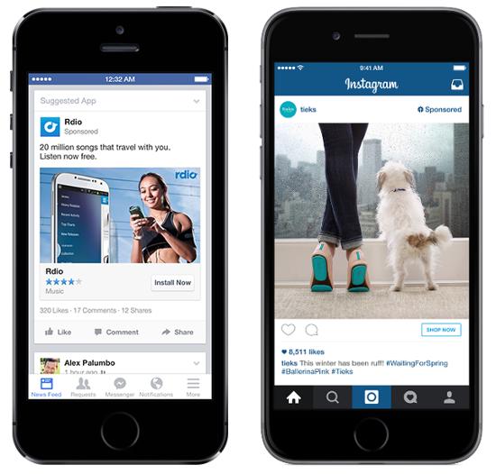 Рис.1. Пример рекламного объявления вленте мобильного приложения Facebook (слева) иInstagram (справа)