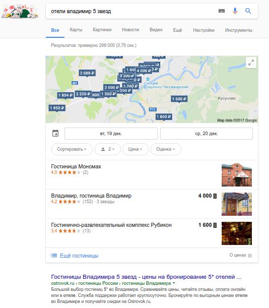 Пример выдачи Google покоммерческому запросу