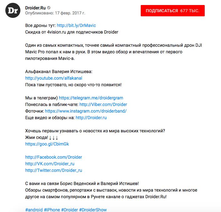 Рис. 6. Пример описания видео из ТОП5 по запросу «обзор mavic pro»