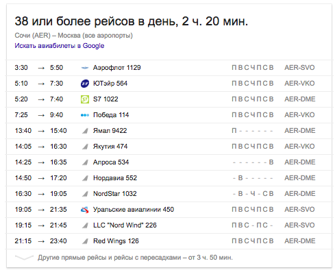 Пример спецэлемента «Полеты» (Google Flights)