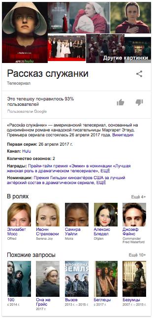 Пример спецэлемента «Граф знаний» Google