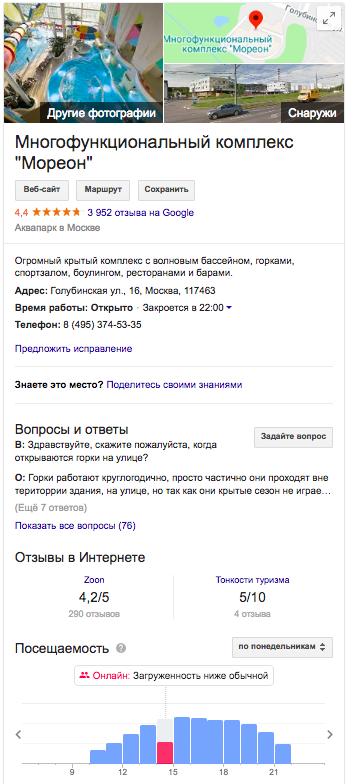 Пример спецэлемента «Блок знаний» Google