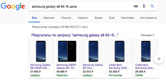 Пример спецэлемента «Товары по запросу» Google
